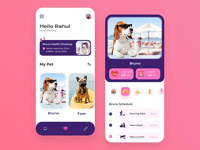 Pet Care app ui design uxui uikit uidesign branding illustration userinterface webdesign uxdesign dogappp careapp prtcareapp petcare