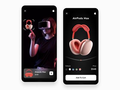 Apple AirPods Max app concept design uxuidesign design uxdesign uiux userinterface figmadesign adobexd branding productdesign appledesign uidesign uiuxdesign appdesign animation airpodmax apple