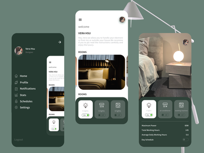 Smart home App art 卧室 lights icon design ui