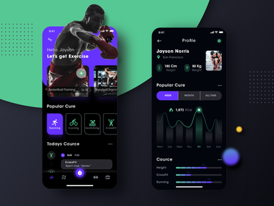 Fitness app prototype (Dark mode exploration) uidesign ui uiux running app running programs dark mode dark health cards apple fitness