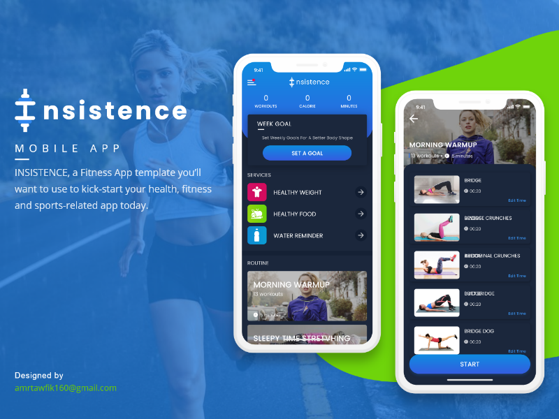 INSISTENCE Fitness UI Kit concept adobe-xd application menu ux ui food resturant mobile app