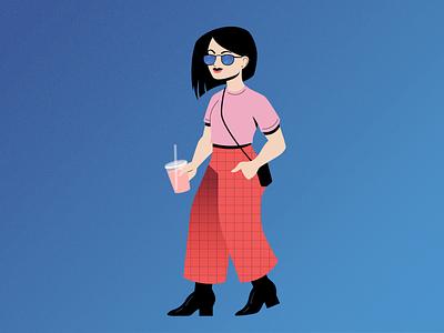 Summer Lady Alternate Colorway grain texture fashion lady summer gradient geometric character illustration illustrator vector
