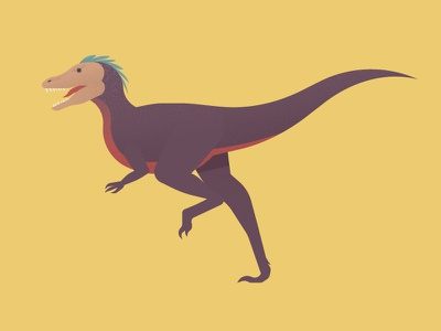 Out and About prehistoric vector illustrator jurassic cretaceous paleontology tyrannosaur therapod dinosaur