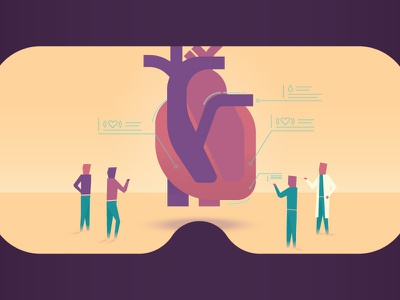 VR Training surgeon heart virtual reality vr ar geometric illustration vector