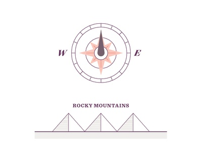 Compass Rose line style minimal map mountains compass geometric illustration vector