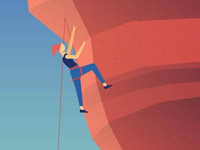 Climbing in the Desert desert red rock texture gradient vector climber rock climbing