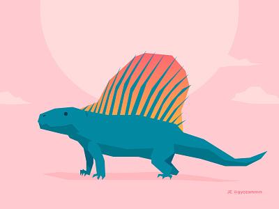 Dimetrodon geometric gradient vector triassic not a dinosaur tropical dimetrodon