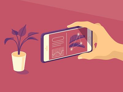 AR Tech app smart phone augmented reality ar illustrator illustration vector