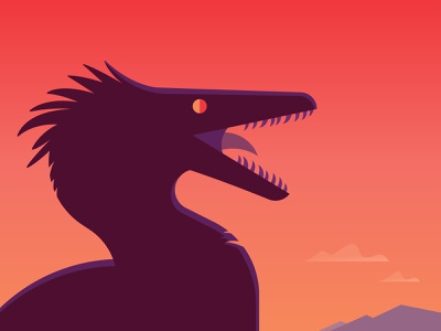 Squawk! cretaceous sunset theropod raptor deinonychus velociraptor dinosaur grain texture photoshop mountains gradient illustrator illustration vector