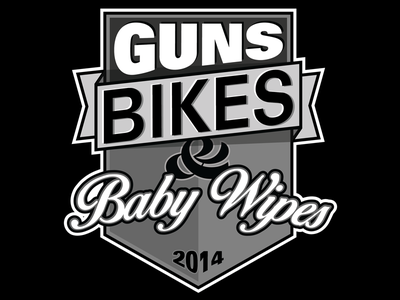 Gun Bikes and Baby Wipes guns bikes baby wipes ampersand banner black and grey