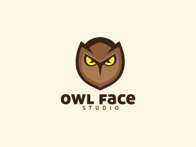 Owl Face Logo Template logo logo template owl bird brown character mascot face