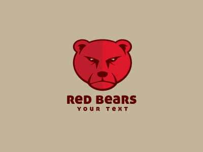 Red Bears  Logo Template logo logo template bear angry red character mascot face animal