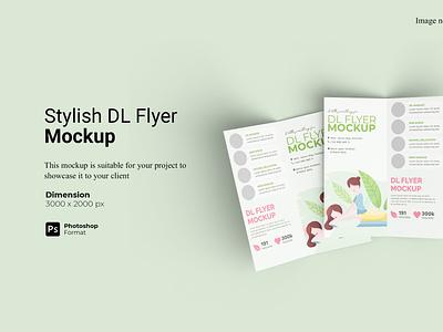 Stylish Bifold DL Flyer Mockup Cover invitation 3d