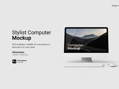 Stylish Computer Mockup Cover view 3d
