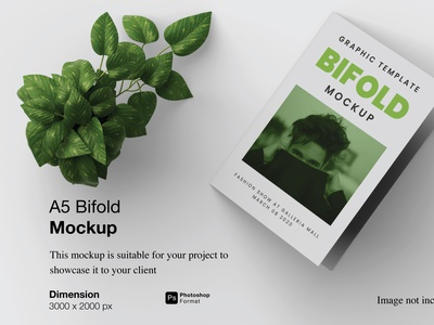 A5 Bifold Mockup Preview Cover cover 3d