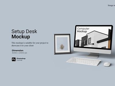 Computer Setup Desk Mockup Preview Cover rendering 3d
