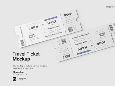 Top View Travel Ticket Mockup Cover presentation 3d