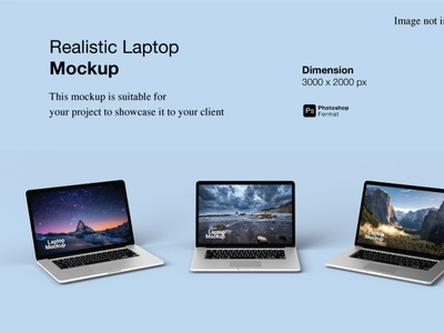 Realistic Laptop Mockup Cover Preview mac 3d