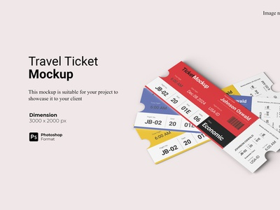 Realistic View Travel Ticket Mockup Cover vacation 3d