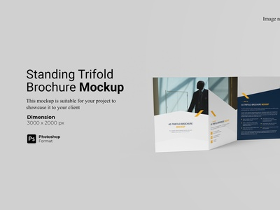 A5 Trifold Brochure Mockup Cover Preview rendering