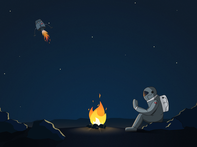 Left in Space adobe illustrator adventure exploration explore loneliness lonely moody fire bonfire stars illustrator graphics moon spaceman spaceship space flat vector design illustration