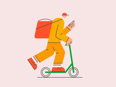 Deliveryman pizza kick scooter food delivery courier character deliveryman flat vector illustration
