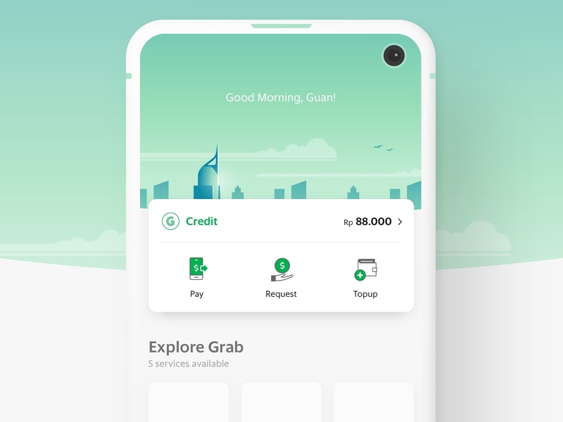 Grab New Home Screen Exploration user interface ui green payment indonesia jakarta skyline transport sea food southeast asia booking app home screen grab