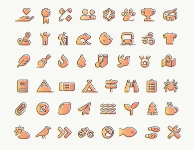 Youth Camp Iconography youthful organic texture youth camp camping activities outdoor scouts icon design iconography icons icon set