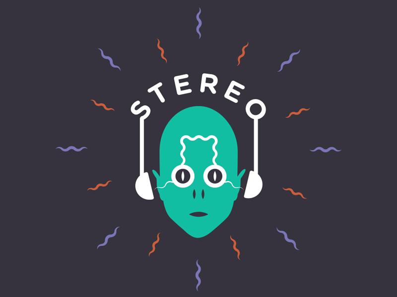 Stereo stereo music logo alien estereo pom-pom records ale falero