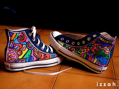 High on Shoes  converse hand painting drawings shoe painting