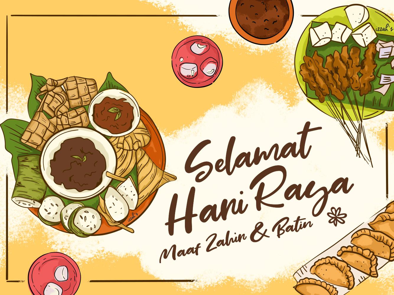 Makan-makan Raya raya eid brush drawings illustrations design