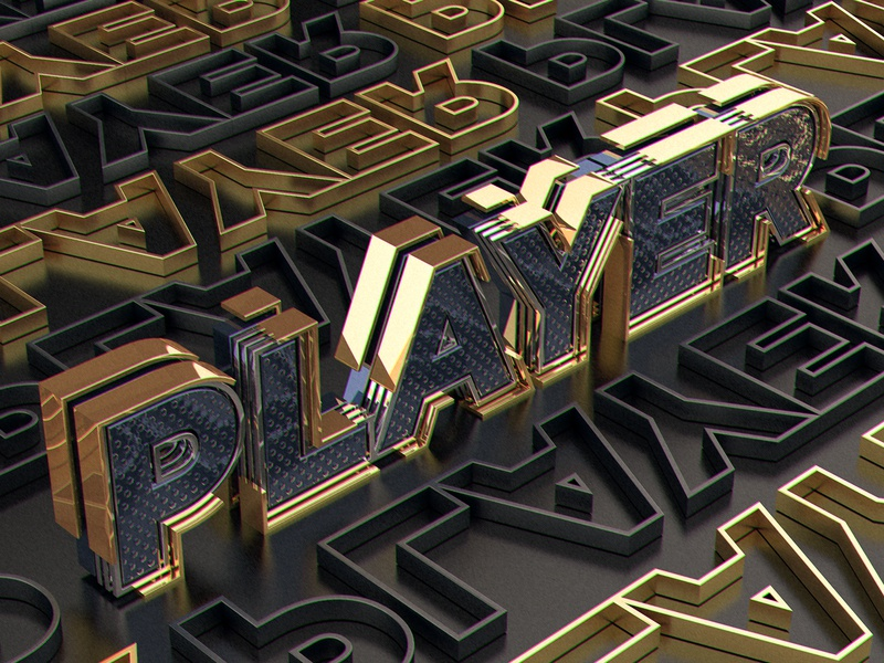 Player 3D typograpy