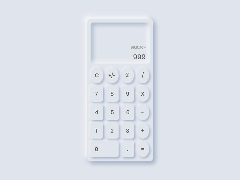 Daily UI 4: Neumorphic Calculator neumorphism dailyui004 dailyui design