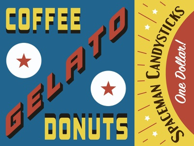 Coffee Donuts Gelato! gelato donuts coffee vintage typography design branding signage