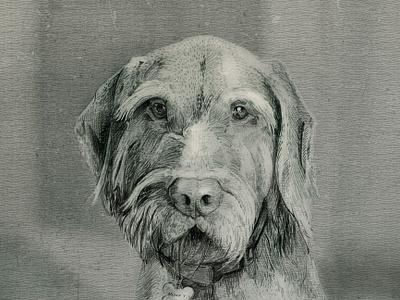 Henry pencil vintage wine dog illustration