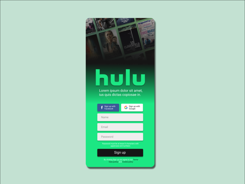 Hulu sign in signup ui daily 100 challenge dailyui
