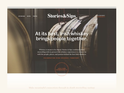 Stories and Sips - Unused Concept irish whiskey whiskey digital web design identity branding