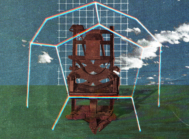 #collageretreat 045. 05/12/2020. electric chair distorted type the shop surreal weird textured digital collage collage collage art collage retreat collageretreat
