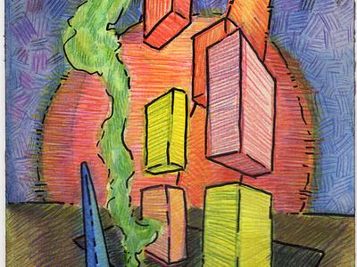 Volumes III colored pencil watercolor art watercolor