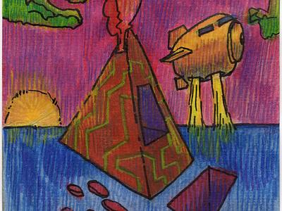 Volumes IX colored pencil watercolor art watercolor