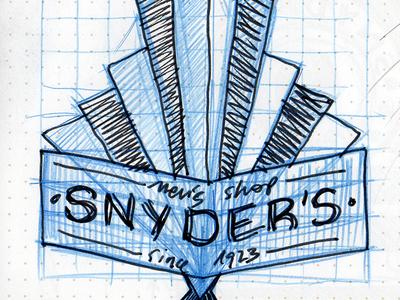 Snyder's Men's Shop branding sketches