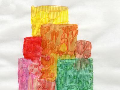 Towering flat shapes colored pencil watercolor art watercolor