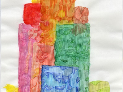Towering flat shapes colored pencil watercolor art watercolor