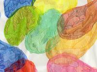 Organic flat shapes colored pencil watercolor art watercolor