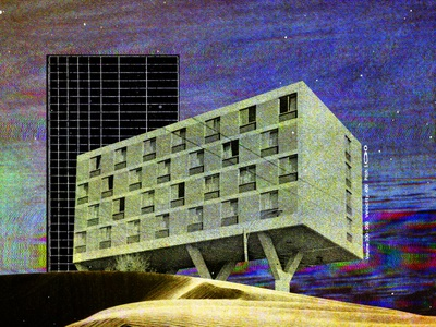 #collageretreat 104. 02/13/2021. sbh the shop glitched colors chromatic aberration building architecture dunes grid typography distorted type scanner type weird surreal textured illustration digital illustration digital collage collage collage art