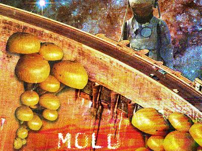 #collageretreat 123. 03/07/2021. astronaut distorted type mold mushroom fungi dam typography scanner type weird surreal textured illustration digital illustration digital collage collage collage art collage retreat
