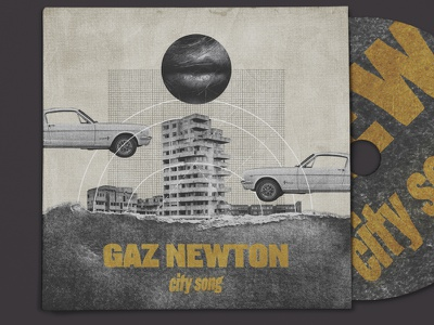 Gaz Newton - City song [single] sbh the shop collage art distorted type typography scanner type surreal weird textured illustration digital illustration digital collage collage album art