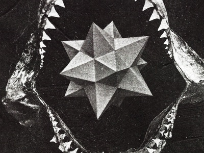 #collageretreat 167. 09/30/2021. typography scanner type polyhedra teeth shark jaw shark surreal weird textured collage illustration digital illustration digital collage collage art collage retreat collageretreat