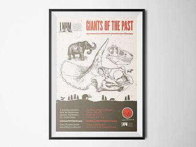 A prehistoric dinosaur themed poster speckles aleo light prociono league gothic orange brown triceratops dinosaur illustrator design cuts educational tutorial