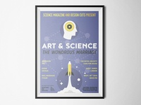 An illustrated art & science conference poster